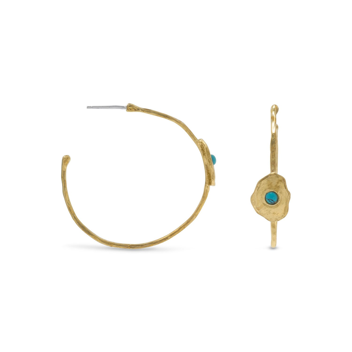 Brass and Reconstituted Turquoise Hoops