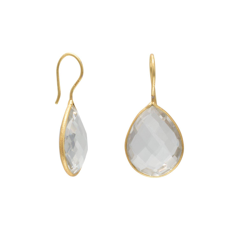 14 Karat Gold Plated Clear Quartz Earrings