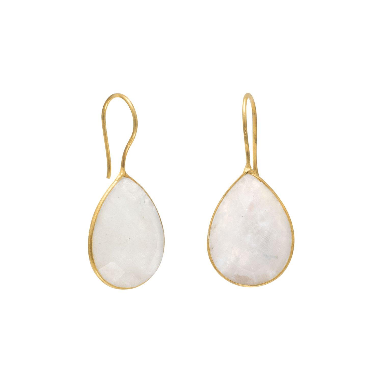 14 Karat Gold Plated Rainbow Moonstone Earrings