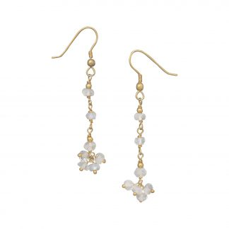 14 Karat Gold Plated Rainbow Moonstone Drop Earrings