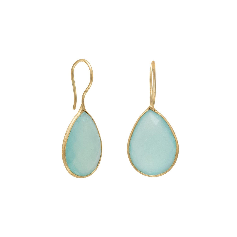 14 Karat Gold Plated Sea Green Chalcedony Earrings