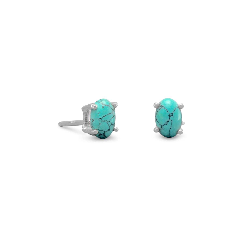 Stabilized Turquoise Stud Earrings