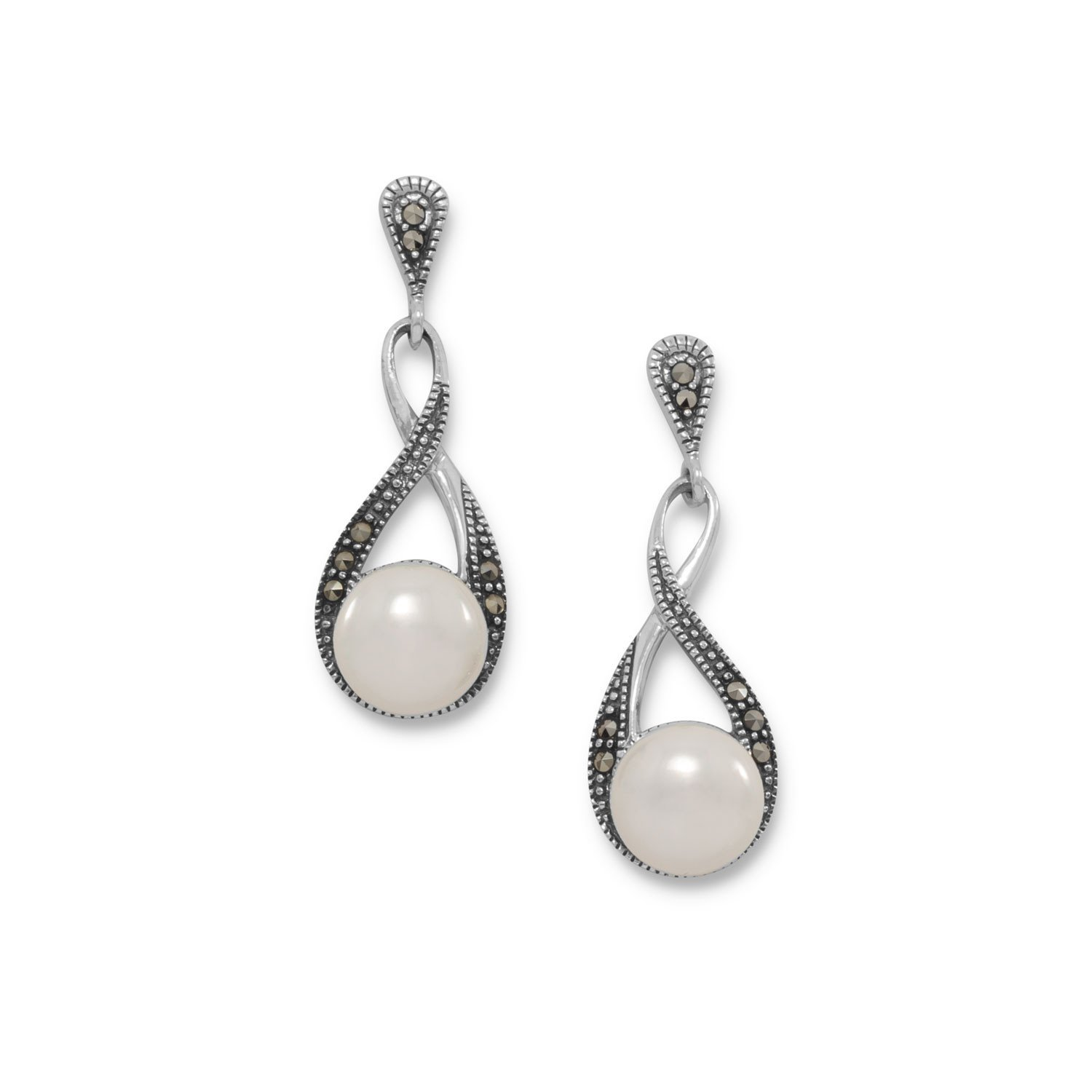 Marcasite and Shell Pearl Drop Earrings