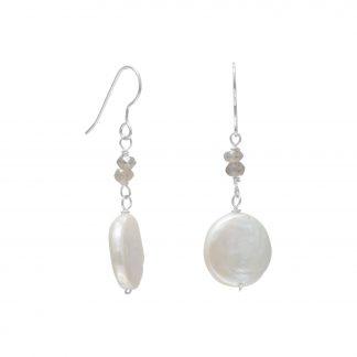 Baroque Pearl and Labradorite Drop Earrings