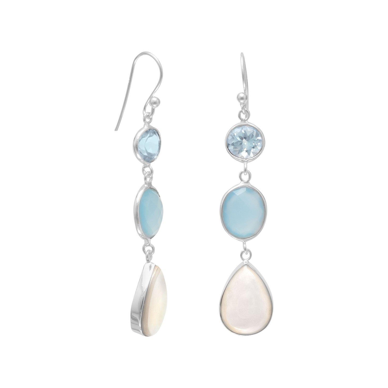 Blue Multistone Drop Earrings
