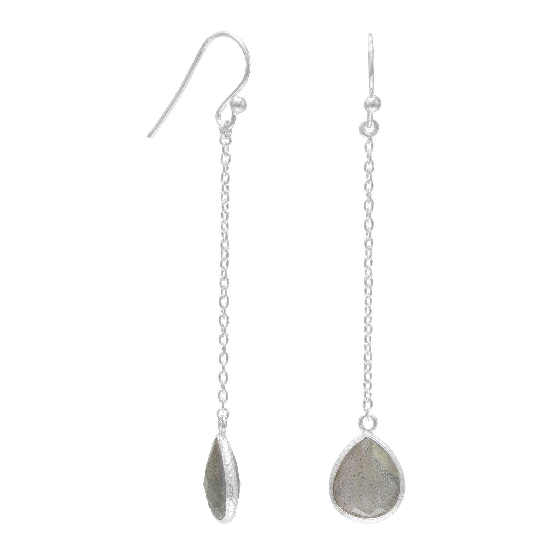 Labradorite Chain Drop Earrings
