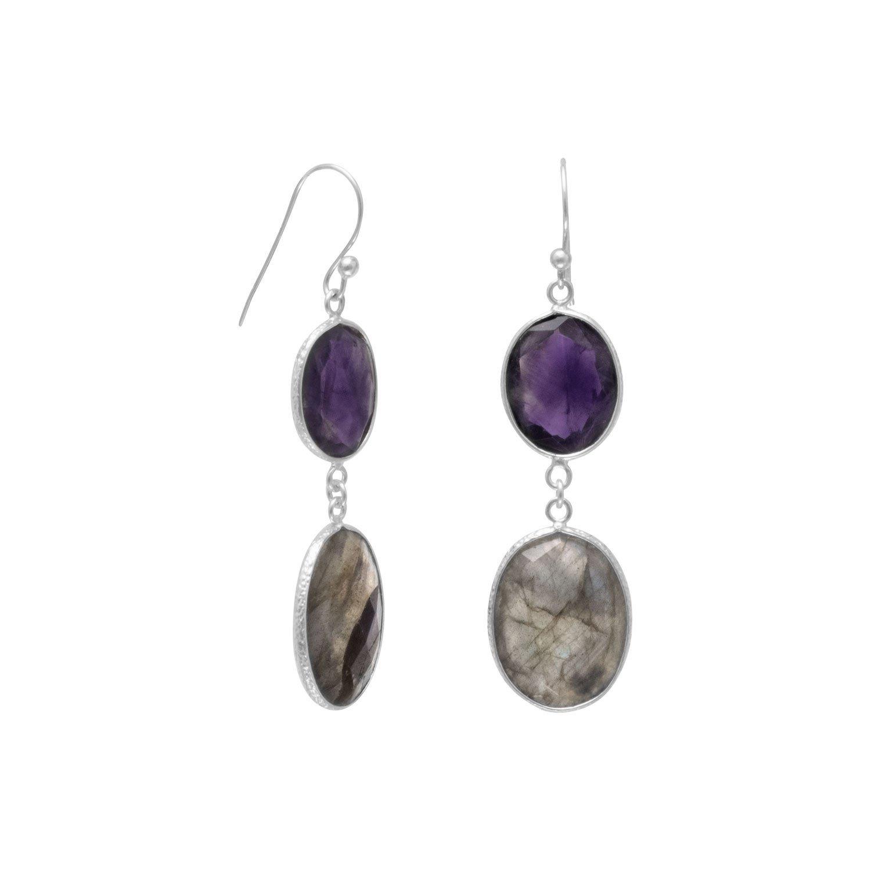 Freeform Amethyst and Labradorite Earrings