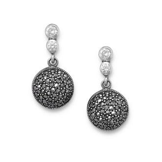 Marcasite and CZ Drop Earrings