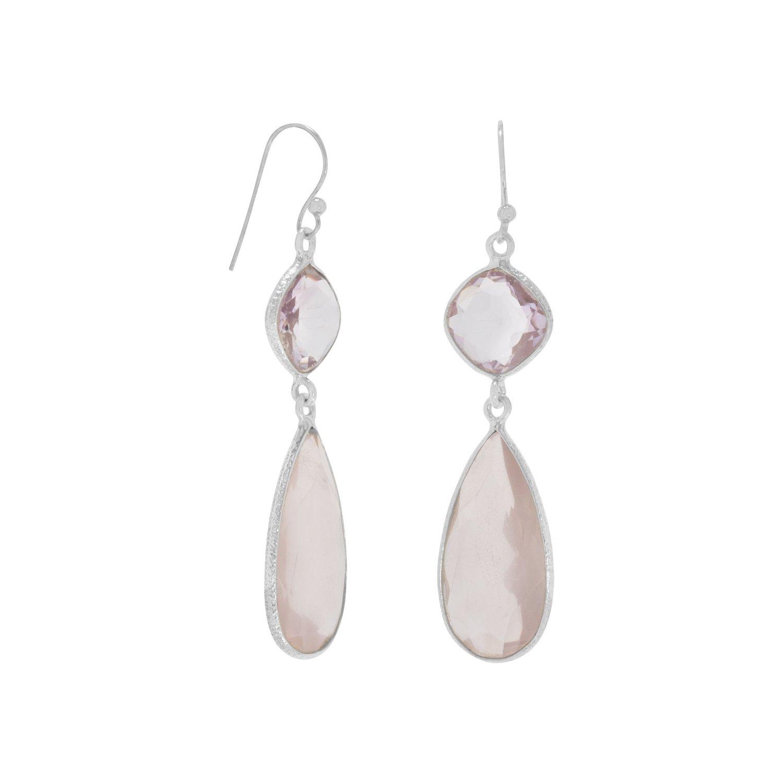 Pink Amethyst and Rose Quartz Drop Earrings