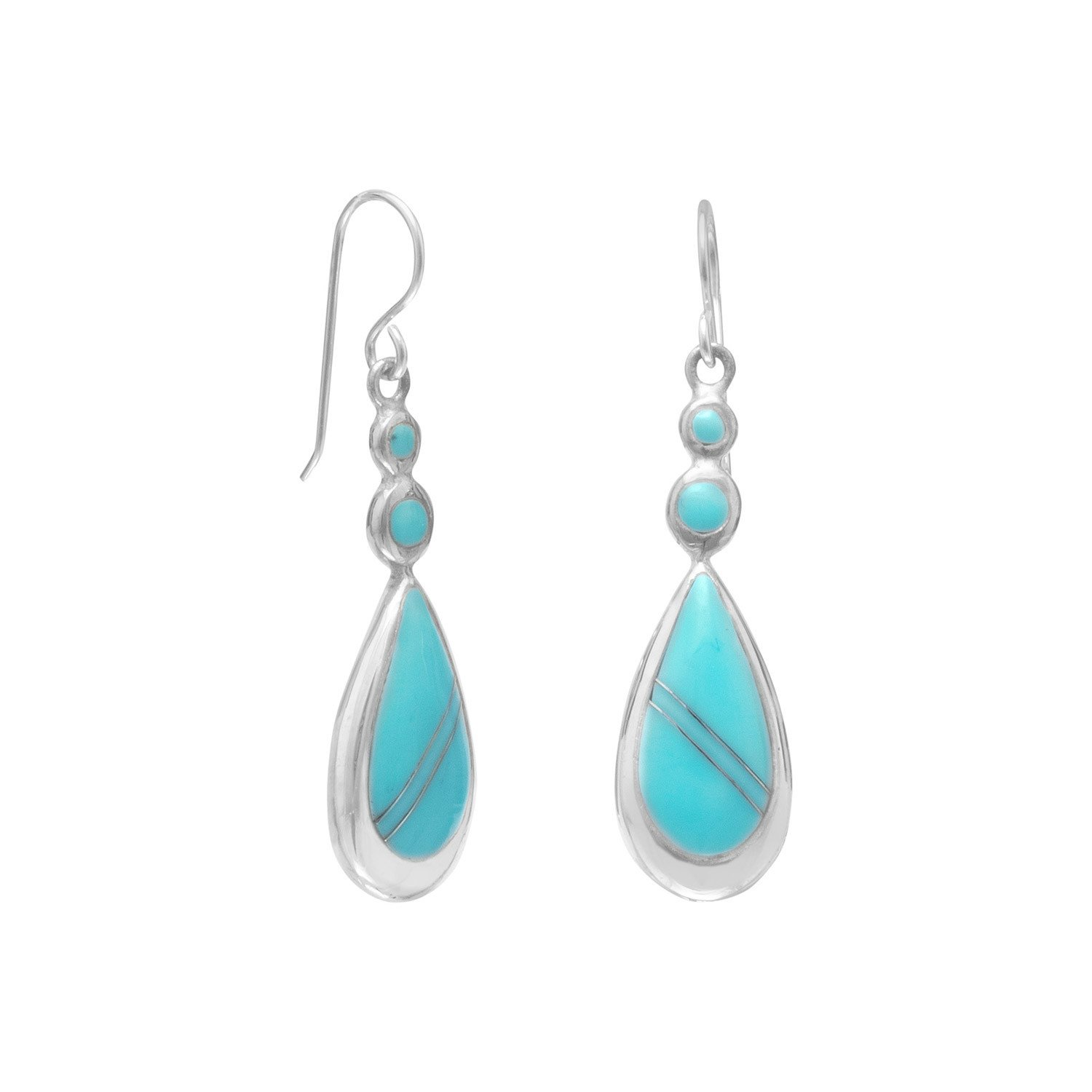 Round and Pear Shape Stabilized Turquoise Drop Earrings