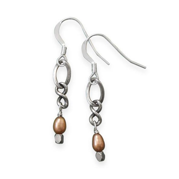 Oxidized Crazy Eights Pearl Drop Earrings