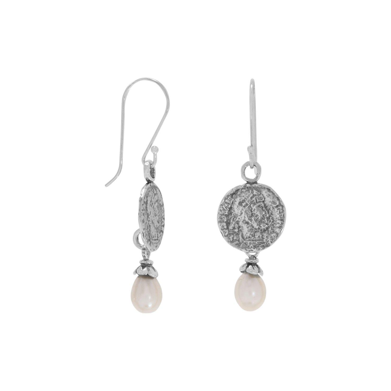 Coined Pearl Earrings