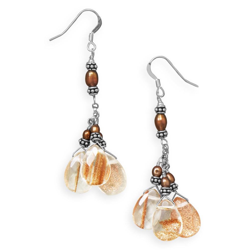 Handmade Sunstone Cluster Earrings