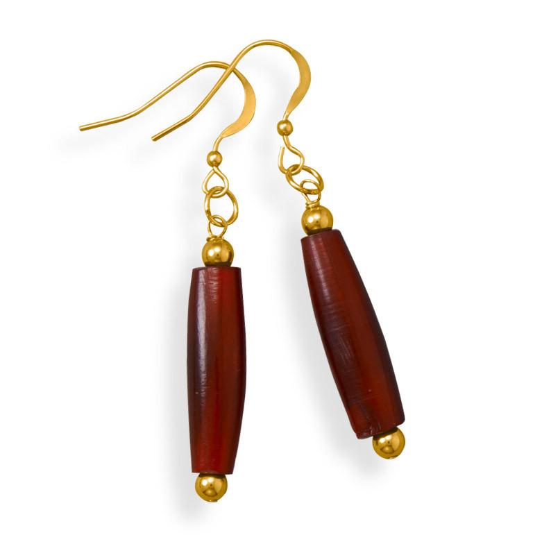 Handmade 14/20 Gold Filled Red Horn Earrings
