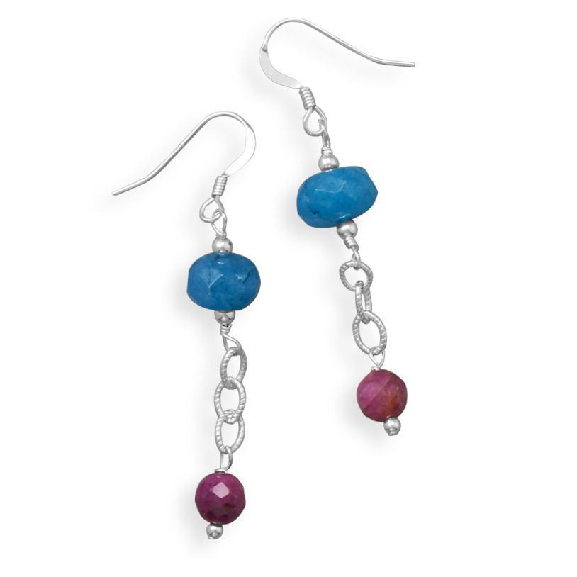 Handmade Blue Quartz and Corundum Drop Earrings