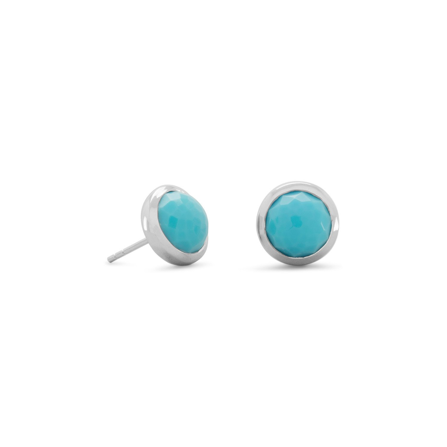Round Freeform Faceted Turquoise Earrings