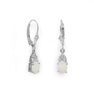 Rhodium Plated Australian Opal and White Topaz Earrings