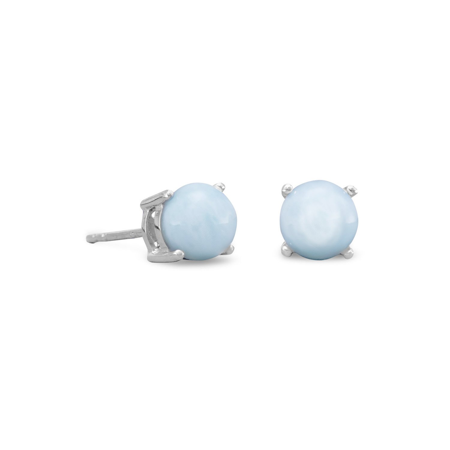 Rhodium Plated Larimar Stud Earrings