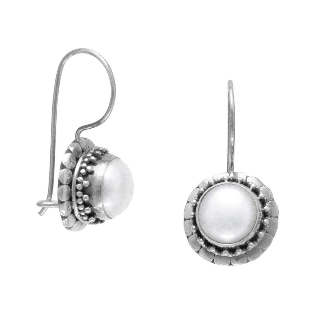Handmade Oxidized Cultured Freshwater Pearl Earrings with Dot Edge