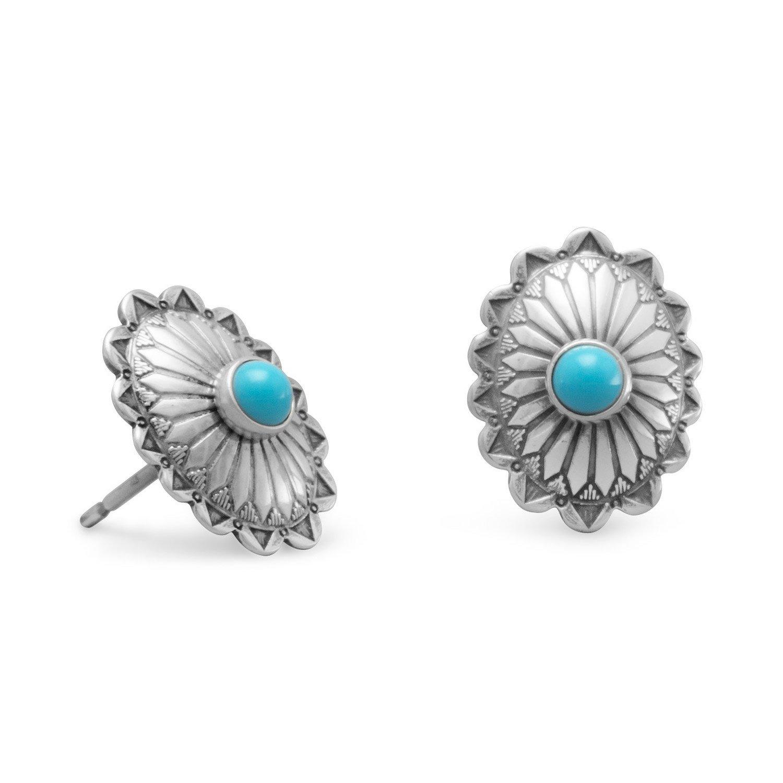 Oxidized Turquoise Concho Stud Earrings