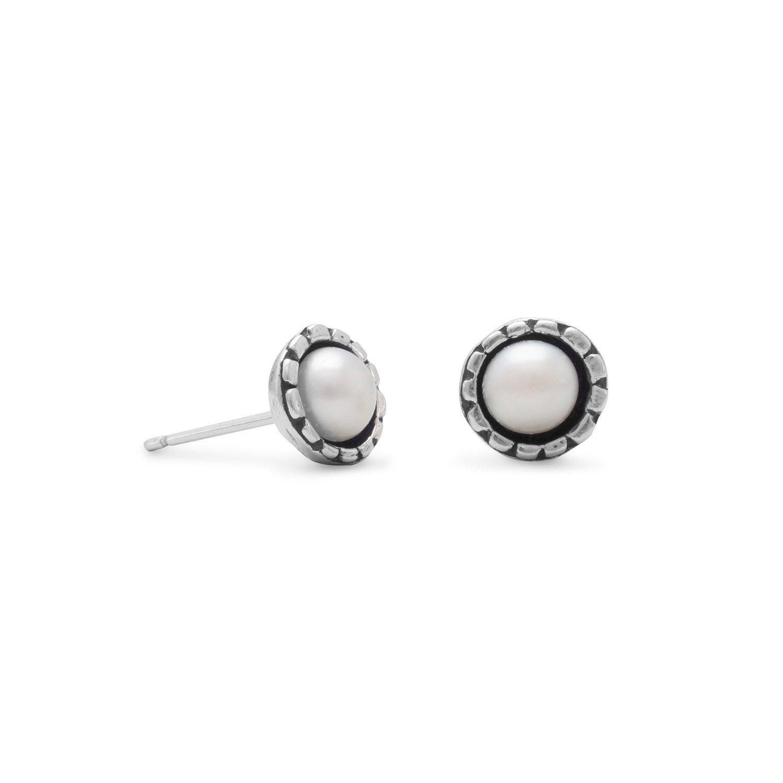 Oxidized Cultured Freshwater Pearl Stud Earrings