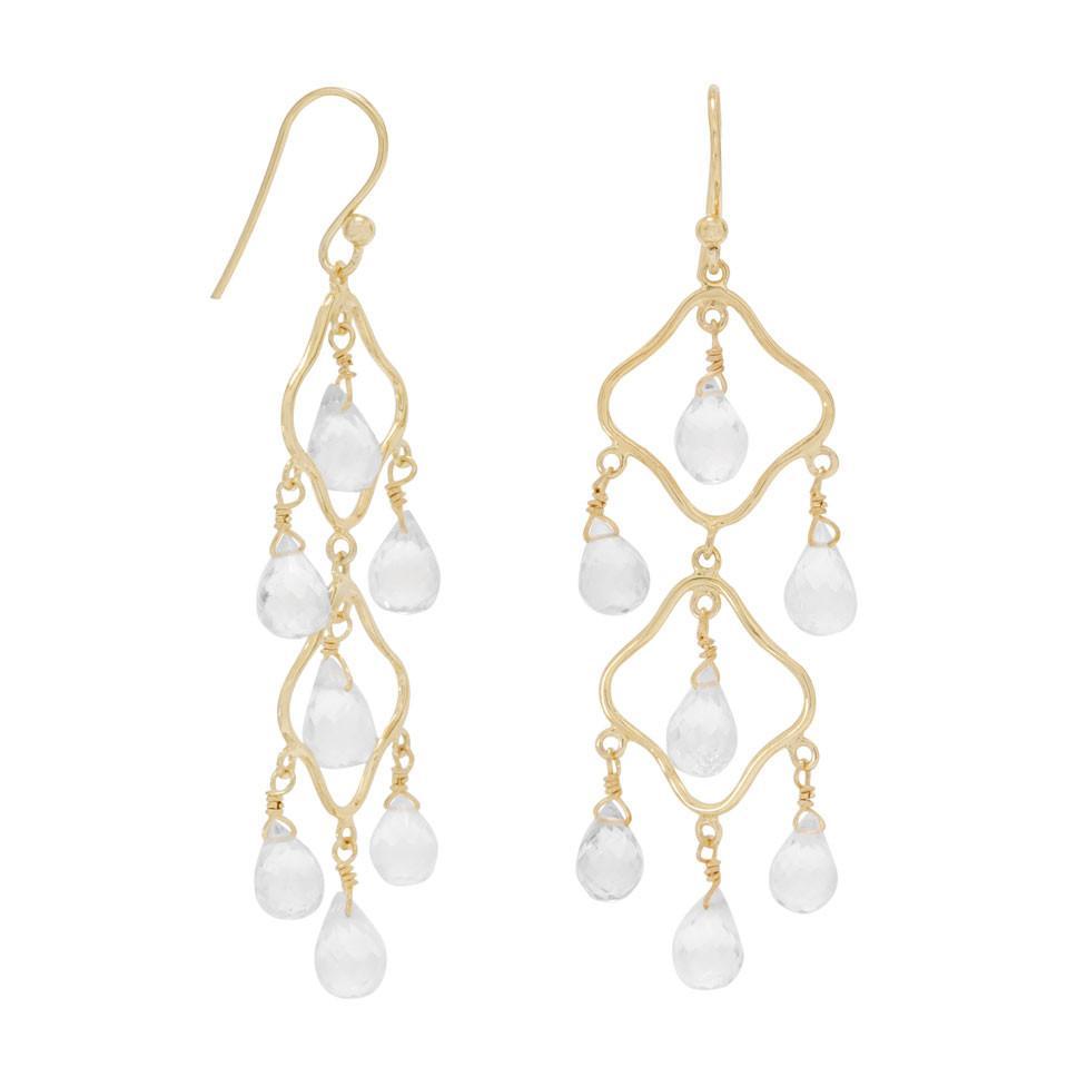 Elegant 14 Karat Gold Plated Clear Quartz Earrings
