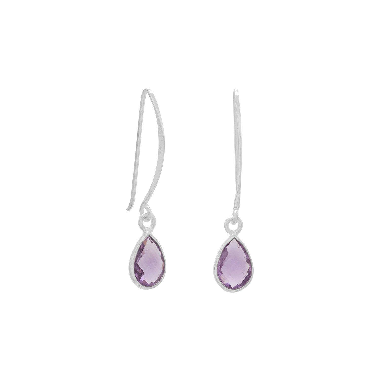 Amethyst Pear Drop Wire Earrings