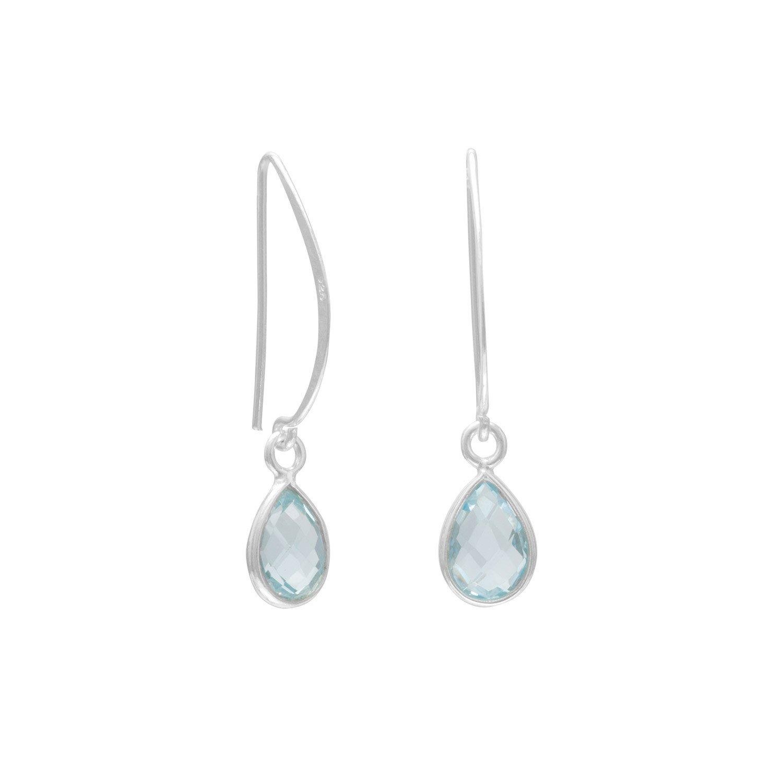 Blue Topaz Drop Wire Earrings
