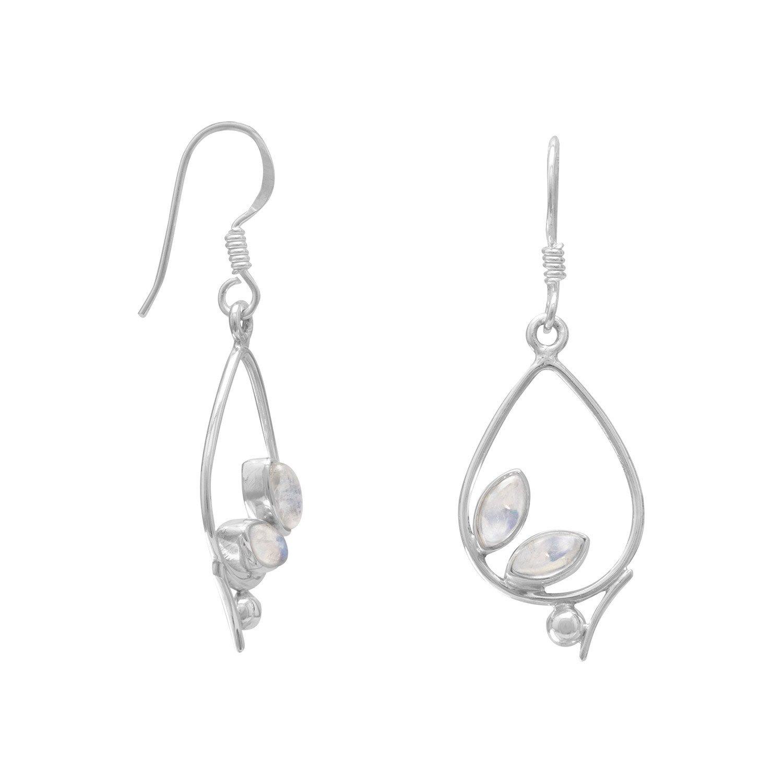 Oxidized Pear Drop Earrings with Rainbow Moonstone
