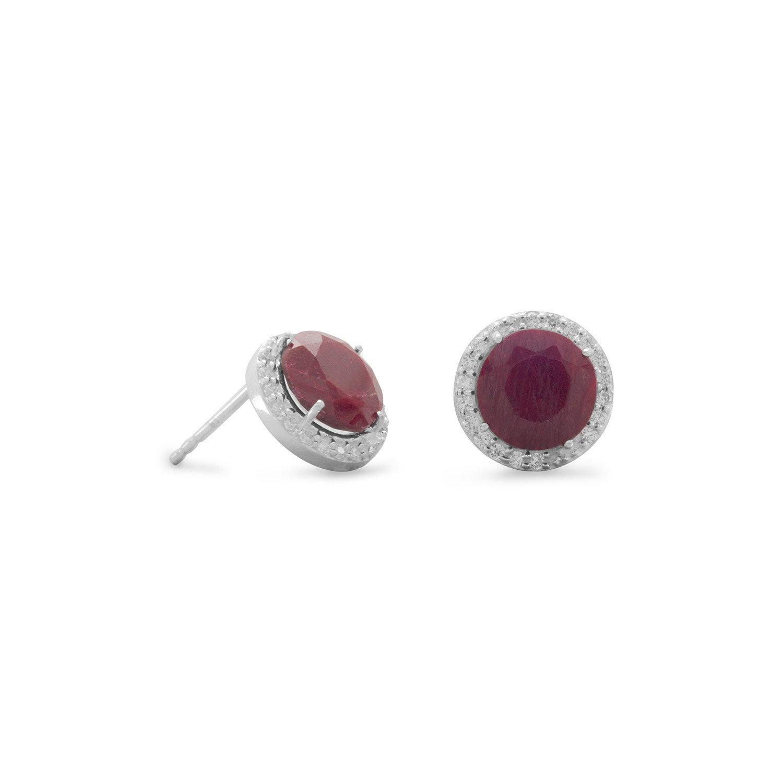 Corundum Stud Earrings with CZ Edge