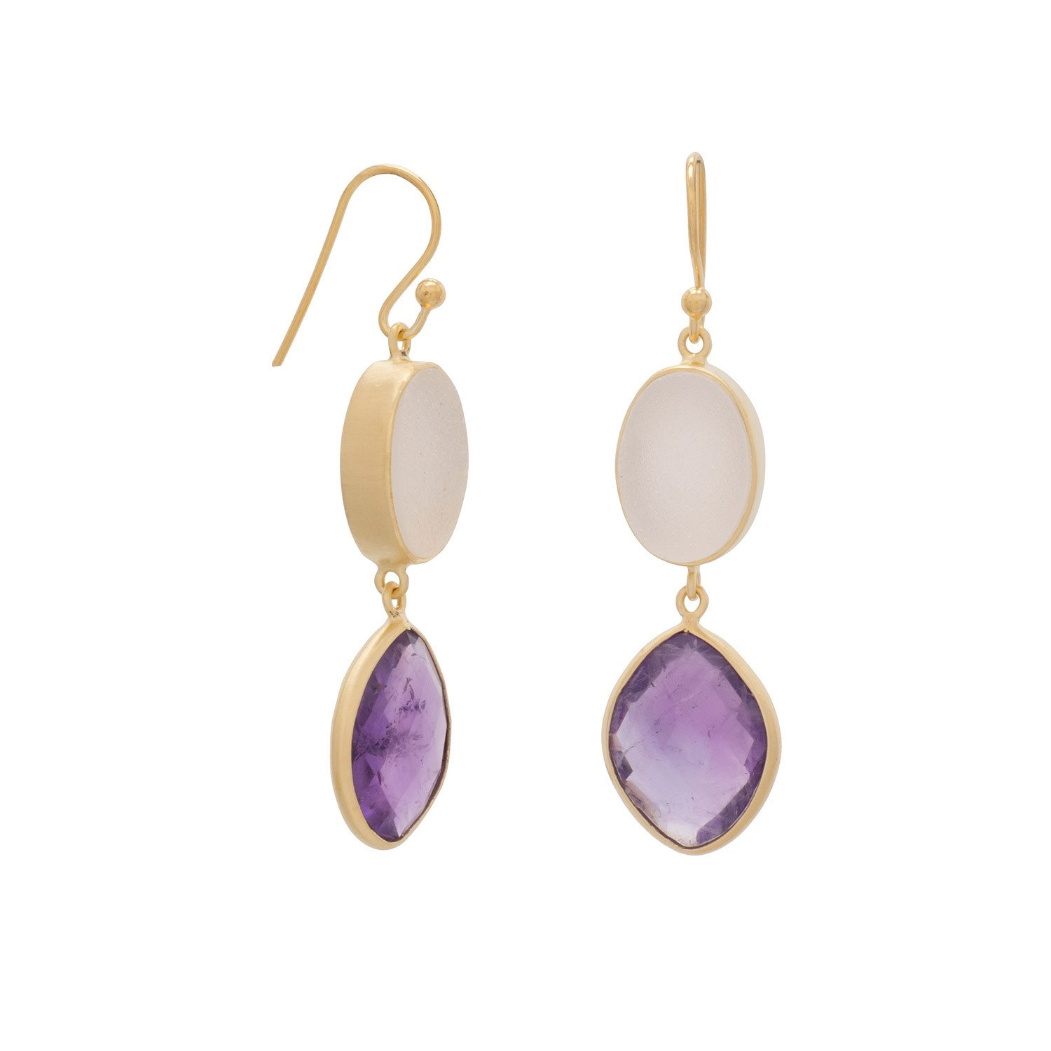 14K Gold Plated Earrings with Amethyst and Druzy