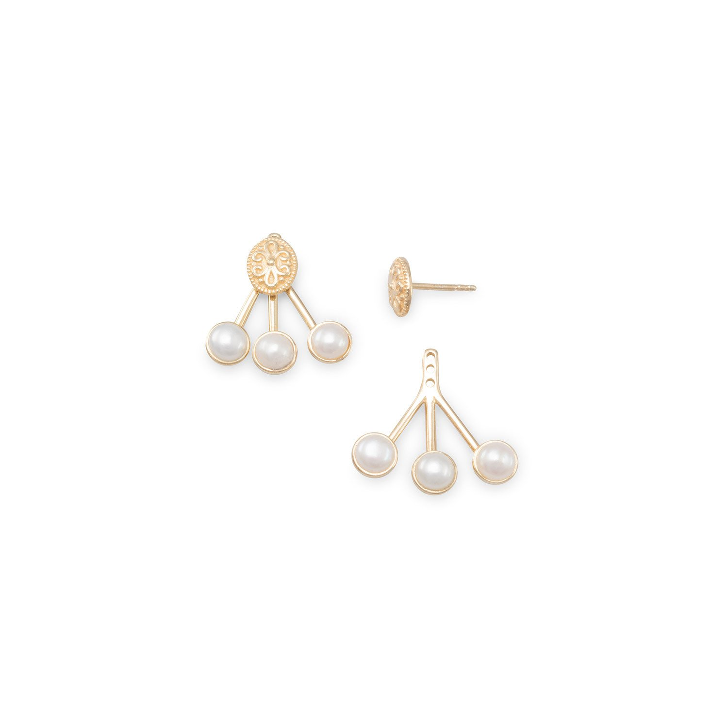 14K Gold Plated Cultured Freshwater Pearl Front Back Earrings