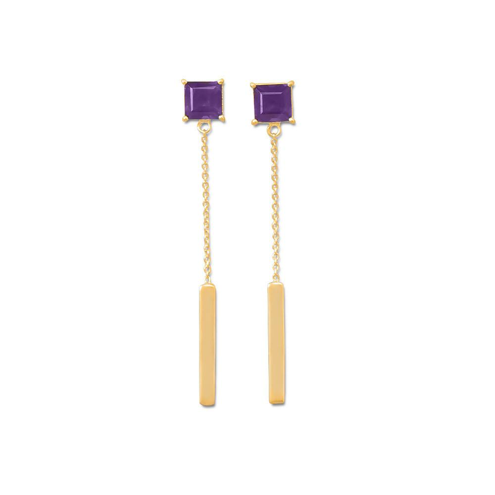 14K Gold Plated Amethyst Post Drop Earrings