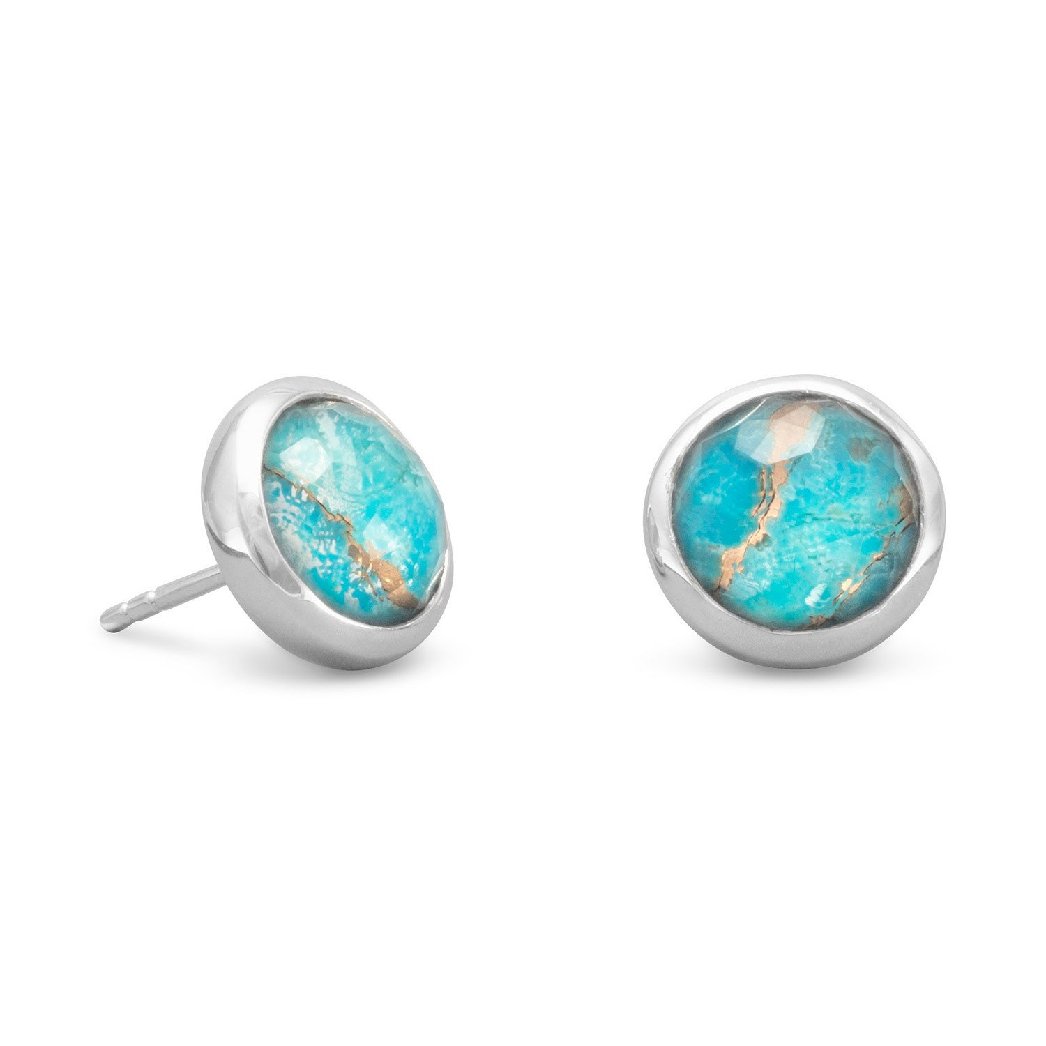Round Freeform Faceted Quartz over Turquoise Earrings