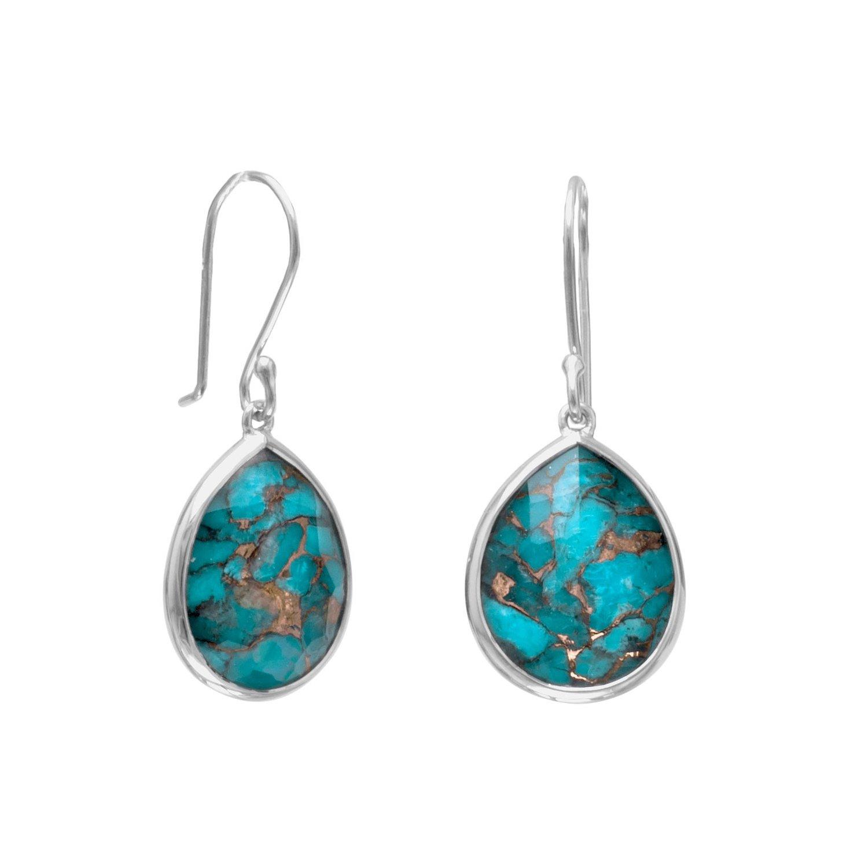 Pear Shape Freeform Faceted Quartz over Turquoise Drop Earrings