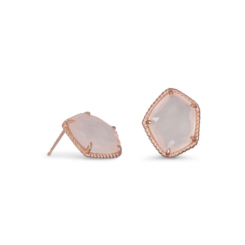 14 Karat Rose Gold Plated Earrings with Rose Quartz
