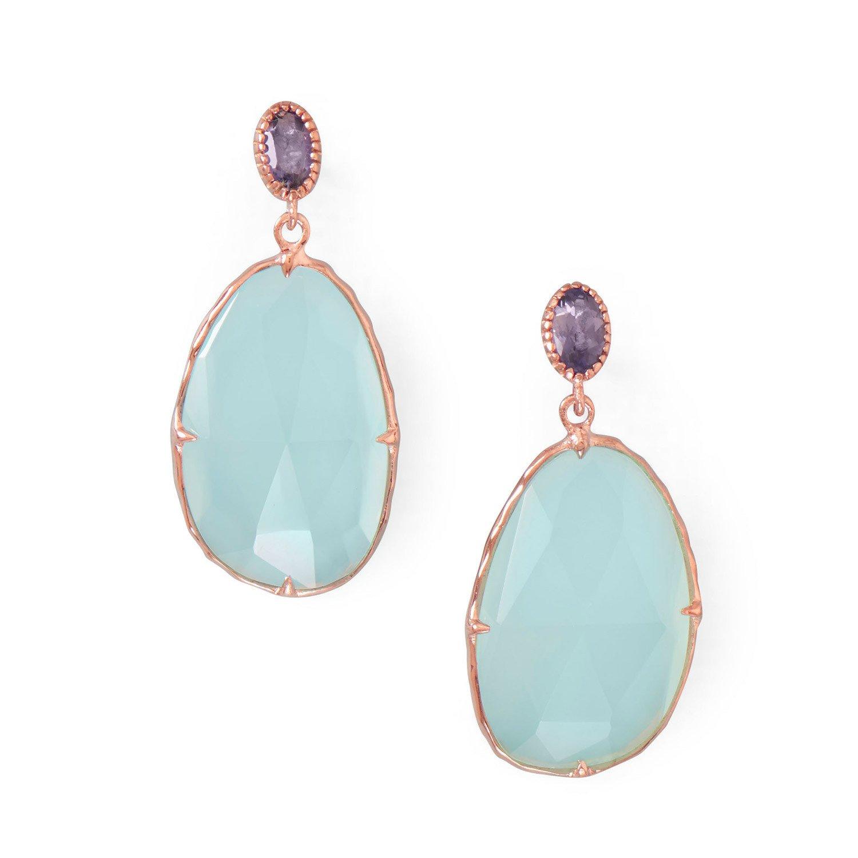 14 Karat Rose Gold Plated Chalcedony Drop Earrings