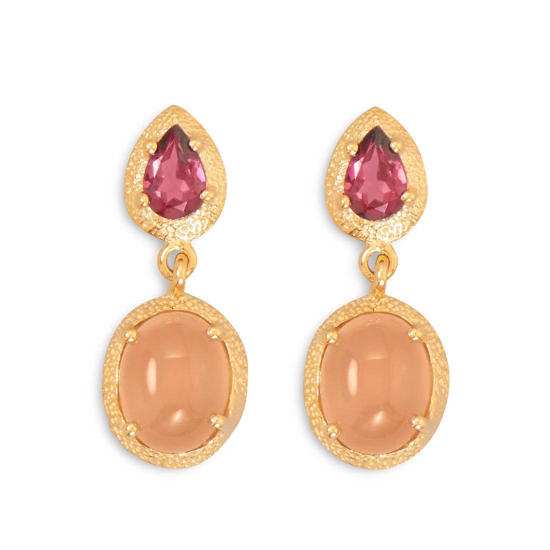 14 Karat Gold Plated Rhodolite Garnet and Moonstone Drop Earrings
