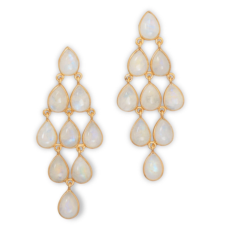 14 Karat Gold Plated Rainbow Moonstone Chandelier Earrings
