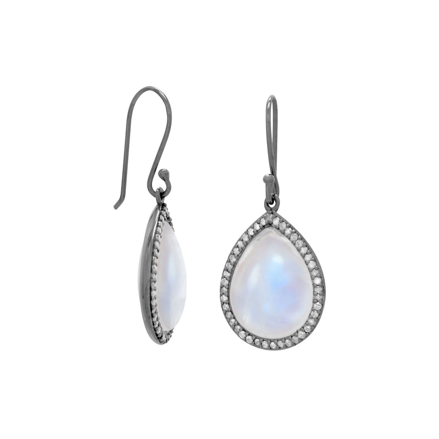 Midnight Collection Drop Earrings With Gray Diamonds
