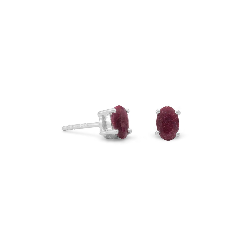 Faceted Oval Corundum Earrings