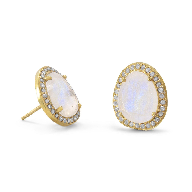 14 Karat Gold Plated Rainbow Moonstone and Gray Diamond Earrings