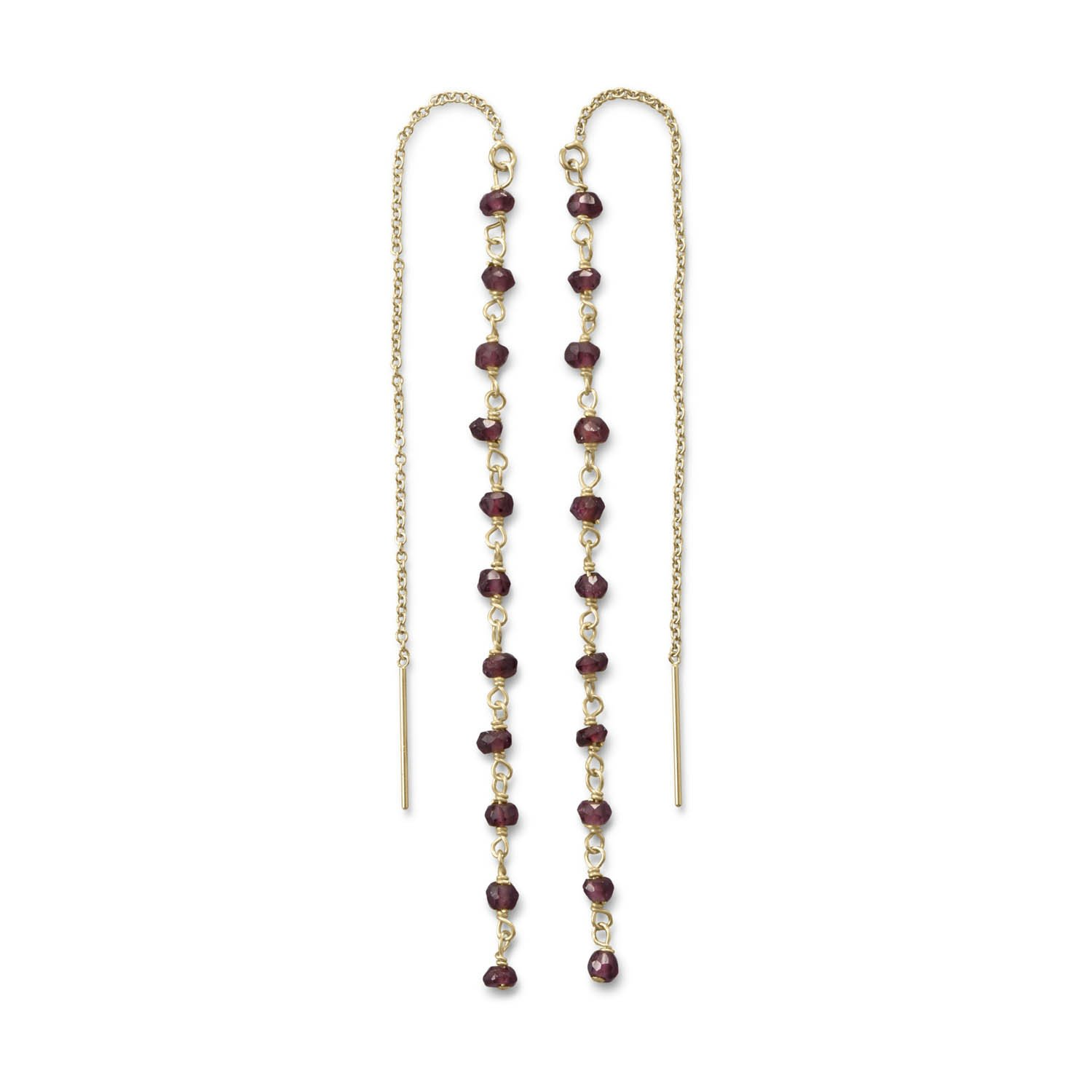 Garnet Bead Threader Earrings