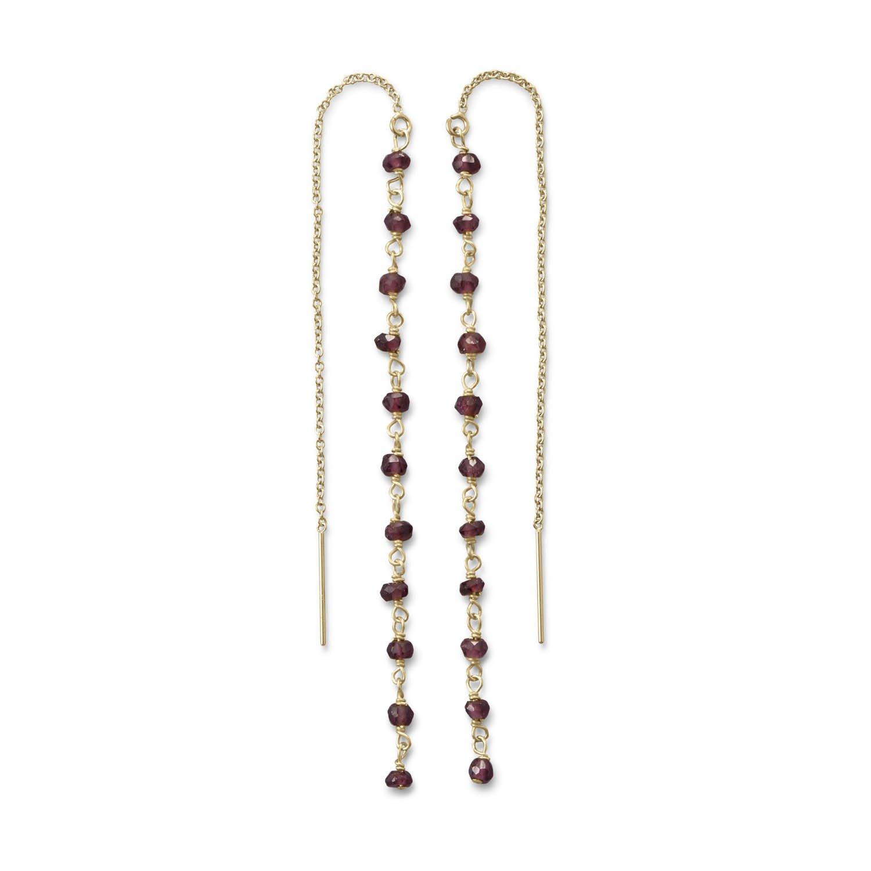 Garnet Bead Threader Earrings