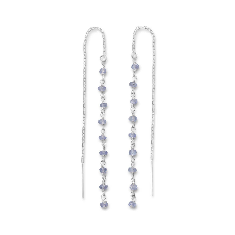 Tanzanite Bead Threader Earrings
