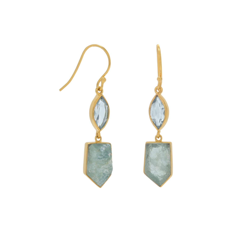 14 Karat Gold Plated Blue Topaz and Aquamarine Drop Earrings