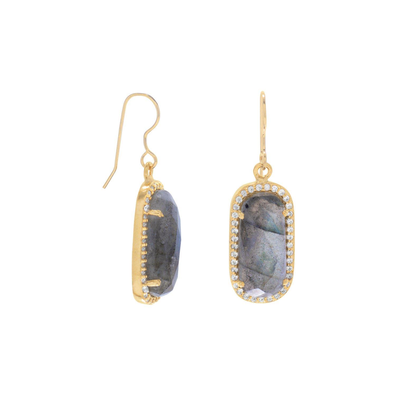 14 Karat Gold Plated Labradorite with CZ Edge Earrings