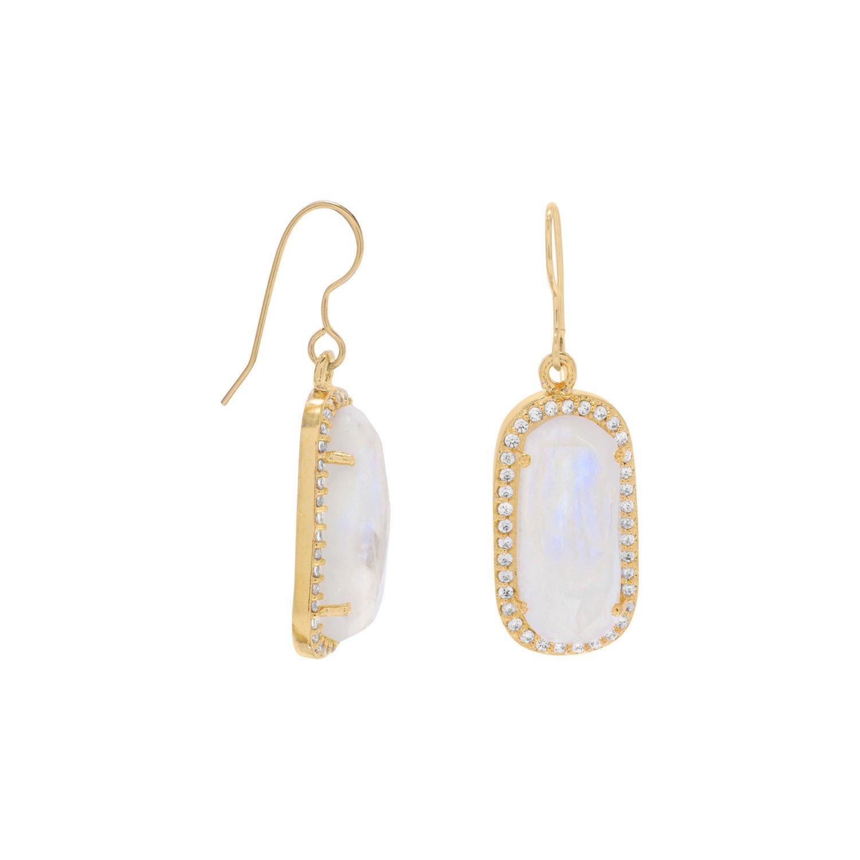 14 Karat Gold Plated Rainbow Moonstone with CZ Edge Earrings