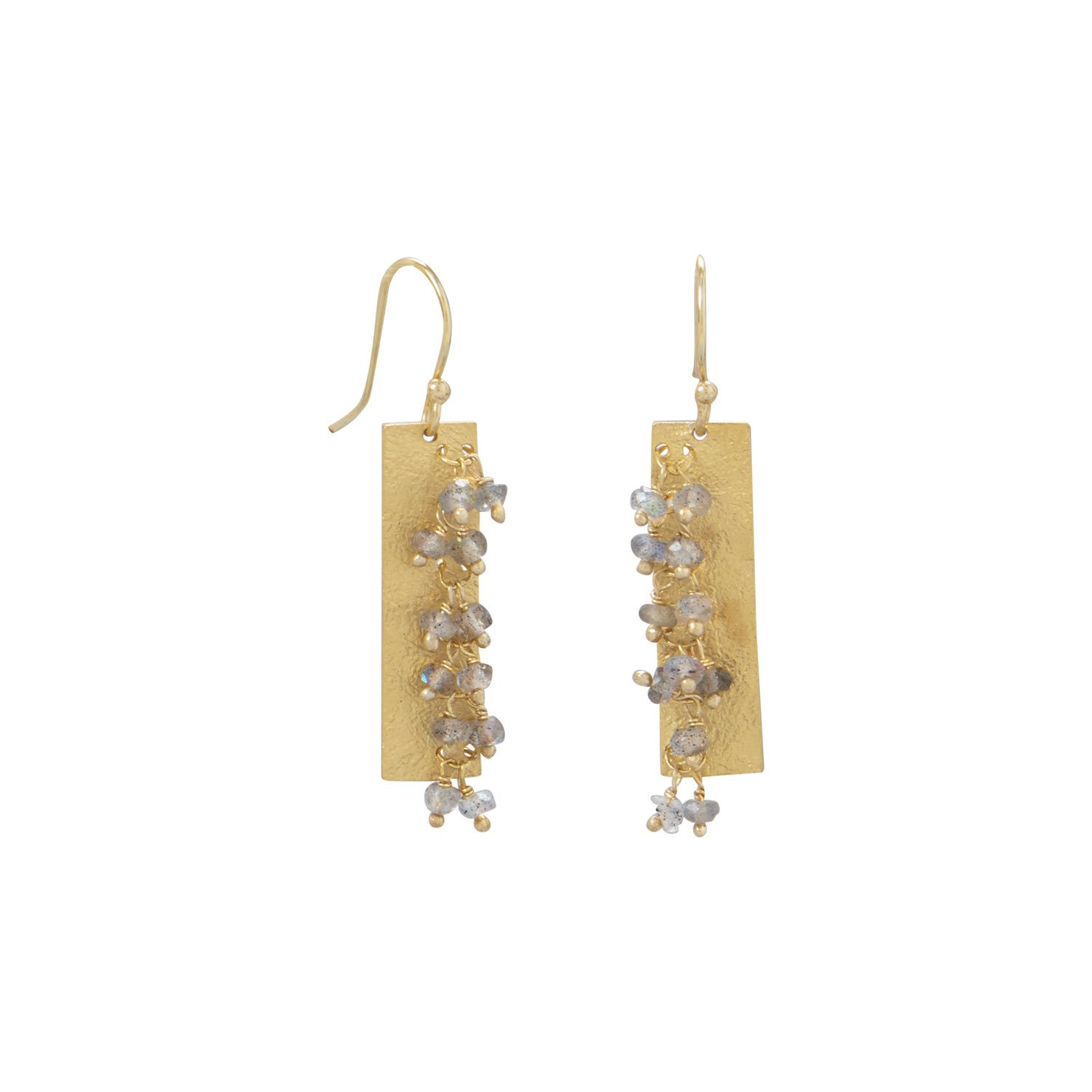 14 Karat Gold Plated Textured Rectangle and Labradorite Bead Earrings