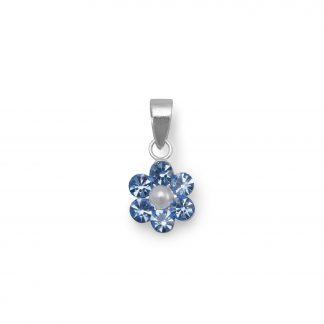 Crystal and Simulated Pearl Flower Pendant